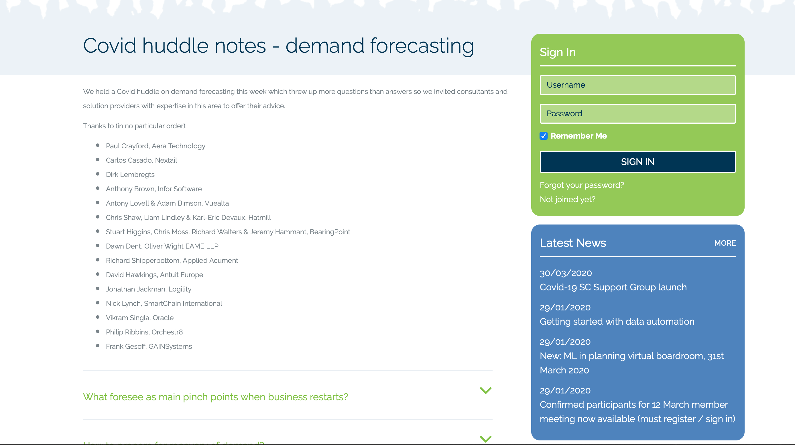 COVID-19 Huddle Notes - Demand Forecasting